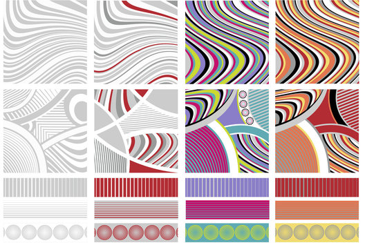 Surface pattern for stationery shown working in different colourways with complementary border designs.
