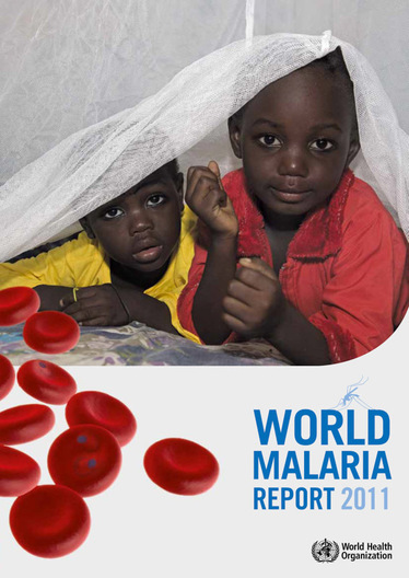 Cover of the 2011 World Malaria Report by the World Health Organization.  Two children peek out from under a Permanet long lasting insecticide treated mosquito net in the Garki area of Abuja. Sleeping under a mosquito net every night prevents malariawhich is transmitted through the bite of an infected mosquito.  Globallymalaria kills 1,000,000 people every yearmost of them pregnant women and children under five.