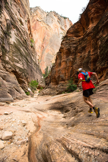 Steve Denny Running the East RIm Trail down into Zion National Park.