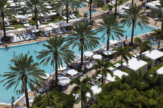 Pool at Fontainebleau, Miami Beach from Room 1208 in The Chateau Tower