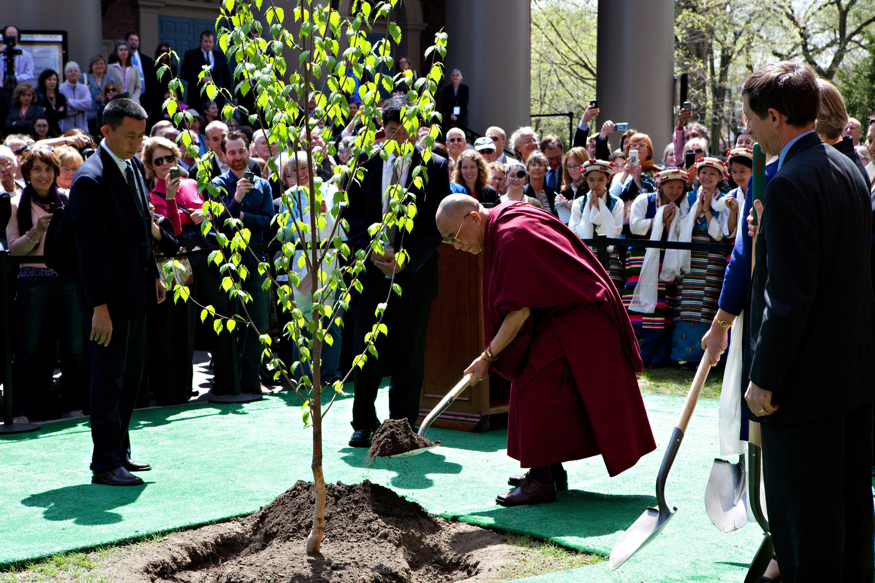 The Dalai Lama Visited Harvard to Speak and Plant a Tree