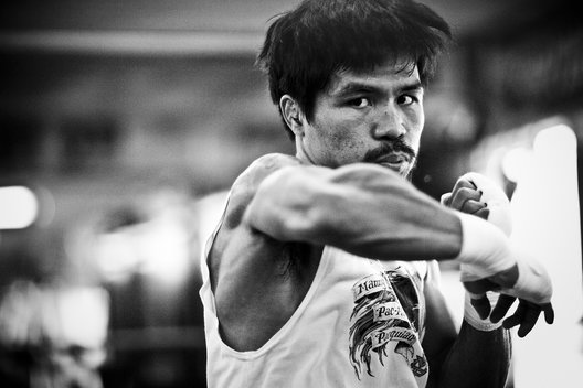 Boxing legend Manny Pacquiao trains under the tutelage of Freddie Roach at the Wildcard Gym in Hollywood, California.