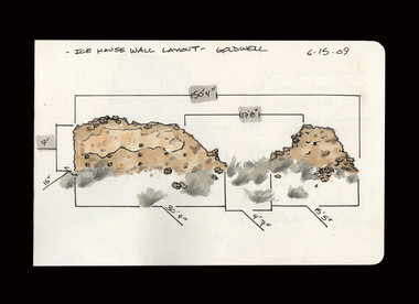 This was a drawing of the remnant stone wall of an ice-house at the Goldwell Artists Residency in Rhyolite, NV and all of it's important dimensions. I like to be thorough. I was thinking about building an architectural intervention here, but decided against it due to local inhabitants (snakes) being potentially against the idea
