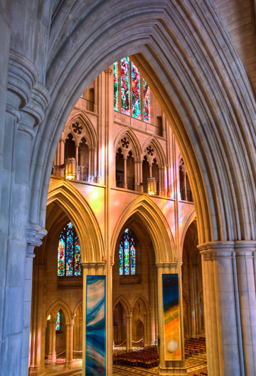 High dynamic range (HDR) image of the Washington National Cathedral, Washington, DC