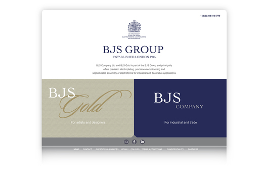 Web site design uniting the BJS group, a Royal Warrant Holder, offering precision electroforming, electroplating and silversmithing