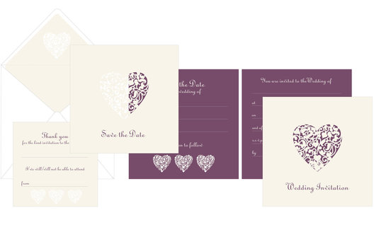 A range of wedding stationery for Tesco Finest, using die-cut hearts.