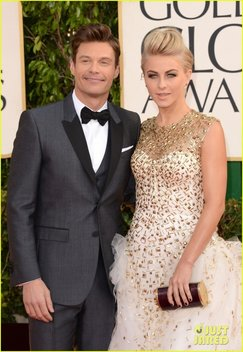 BEVERLY HILLS, CA - JANUARY 13:  TV personality Ryan Seacrest (L) and actress Julianne Hough arrive at the 70th Annual Golden Globe Awards held at The Beverly Hilton Hotel on January 13, 2013 in Beverly Hills, California.  (Photo by Jason Merritt/Getty Images)