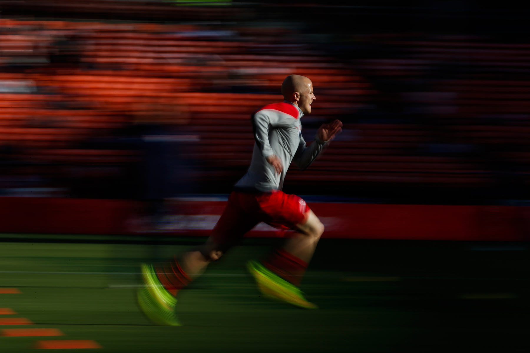 Michael Bradley of the U.S. men's national soccer team warms up before a friendly soccer match against Azerbaijan men's national soccer team in San Francisco, California May 27, 2014.