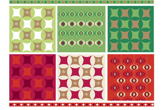 Creation of pattern and trim using classic Christmas icons, 