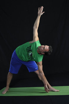 Strengthens legs, stretches groin, hamstrings, hips, opens chest & shoulders, can relieve back pain.