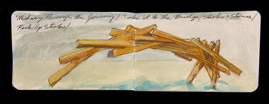 "Conception drawing of ""Midway Through the Journey/Take It to the Bridge/Pick-Up Sticks""