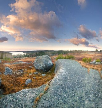 the blueberry barrens in downeast maine are amazing, especially when they overlook a pond or the ocean.  granite ledges often poke up through here to give a feeling of alpine tundra.  There are also lonely boulders who long ago were thrown from the glacial bus they were riding to the sea.  Here, one such boulder found a nice spot to sit and watch over walker pond on the blue hill peninsula.