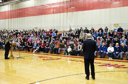 Ron Paul speaks at a town hall meeting in the Mason City High School Gym.