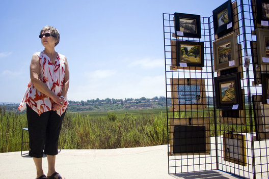 "Lorraine Steen of New Jersey looks around the SOCALPAPA ""Paint Back Bay"" event on Saturday at the Interpretive Center near Upper Newport Bay. Steen said she was visiting her daughter and son-in-law who live in Newport Beach."