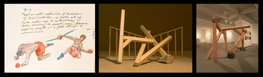 "Multiple images showing the creation of ""This Is Not a Love Song"". The final work is made from local-sourced hand-hewn beams of red oak and poplar and local-sourced field stone.
