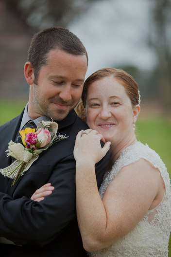 Bride and groom, photo taken on a farm in South Carolina.