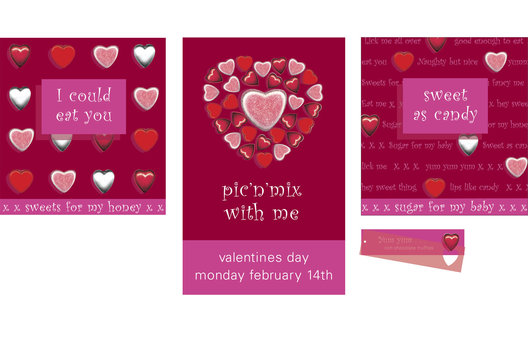 Seasonal graphics for Valentine's Day for a range of confectionery, gift packaging and promotional decor.
