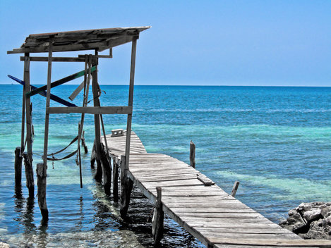 Deck and the Caribbean Sea on Utila island, Honduras