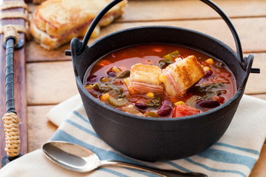 Minestrone Soup with grilled cheese crutons