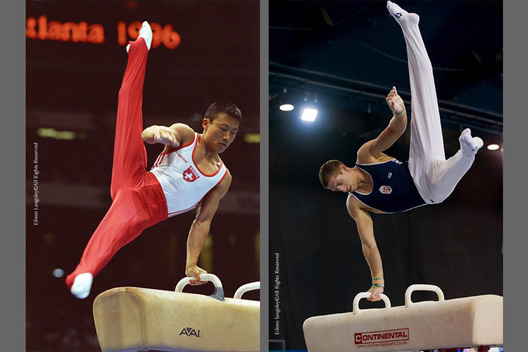 A double image of Li Donghua (Switzerland) left and Krisztian Berki (Hungary) right, competing on Pommel Horse at the 1996 Atlanta Olympic Games and the 2009 Glasgow Grand Prix respectively.