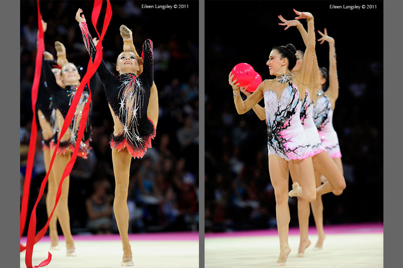 The groups from Canada (left) and Spain (right) at the World Rhythmic Gymnastics Championships in Montpellier.