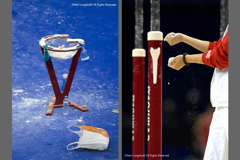 Generic images illustrating the importance of chalk in the world of gymnastics, from the 2009 London World Artistic Gymnastics Championships at the 02 arena.