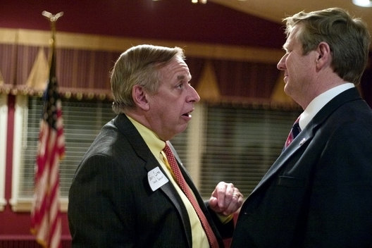 Ohio State Senator Gary Cates (R-4) (left) speaks with Ohio Representative Jim Zehringer (R-77) at the Darke County Lincoln Day Dinner in Greenville on Feb. 28. Zehringer made a short speech and introduced guest speaker John Kasich.