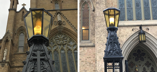 Restored damaged original outdoor lanterns