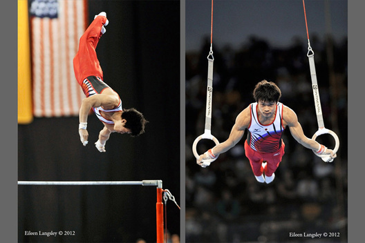 Yusuke Saito (Japan) competing on High Bar at the 2012 FIG World Cup in the Emirates Arena Glasgow December 8th