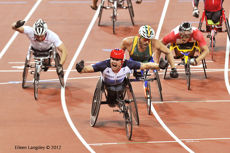David Weir (Great Britain) the 'Weirwolf' wins the 5000 metres T54 race durin the Athletic competition at the London 2012 Paralympic Games.