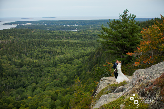 Adventure wedding with hiking elopement - two brides hiking in acadia NP on beautiful lookout Echo Lake wedding