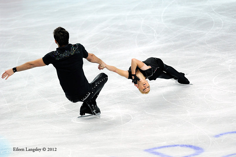 Tatiana Solosozhar and Maxim Trankov (Russia) competing in the Pairs event at the 2012 European Figure Skating Championships at the Motorpoint Arena in Sheffield UK January 23rd to 29th.