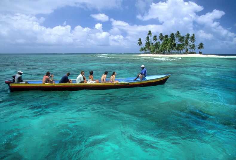 A boat tours through the San Blas Islands in Panama.  Michael Brands. 970-379-1885.