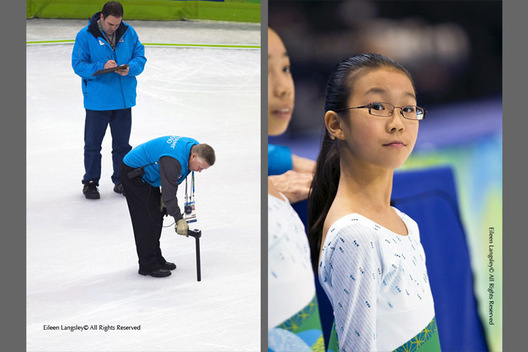 A double image of officials and volunteers working at the Figure Skating venue in Vancouver - on the left measuring the temperature of the ice before the start of the competition and on the right a flower girl waiting for her moment to collect the flowers and gifts from the ice.