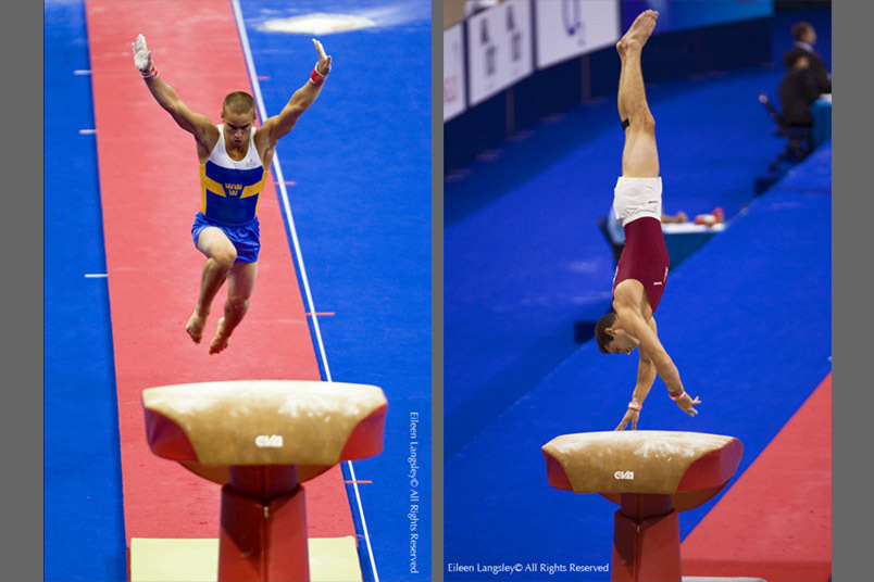 Two action images of Mans Stenberg (Sweden) left and Peter Marjan (Hungary) right competing on Vault at 2009 London World Artistic Gymnastics Championships at the 02 arena.