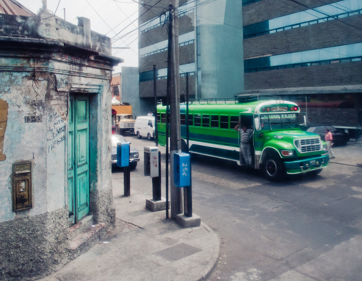 Green bus in the streets of Guatemala City