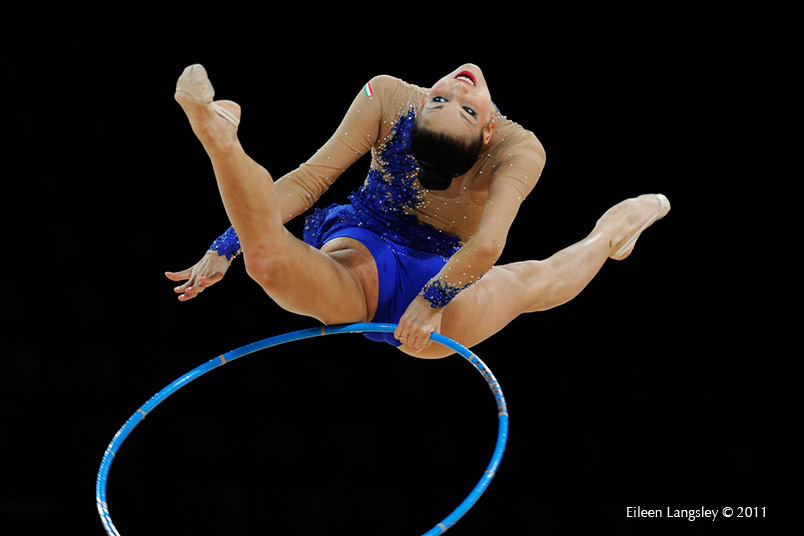 Dora Vass (Hungary) competing with Hoop at the World Rhythmic Gymnastics Championships in Montpellier.