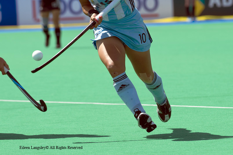 A cropped generic action image of Agustina Garcia (Argentina) showing ball control as she goes on the attack in their match against Germany at the 2010 Women's World Cup Hockey Tournament in Nottingham