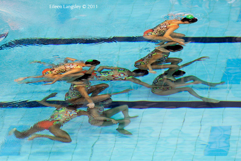 The Spanish team during their routine at the 2011 European Synchro Champions Cup at the Ponds Forge International Sports Centre.