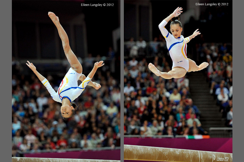 Diana Bulimar (left) and Andreea Iordache (right) both Romania competing on Balance Beam during the Artistic Gymnastics competition of the London 2012 Olympic Games.