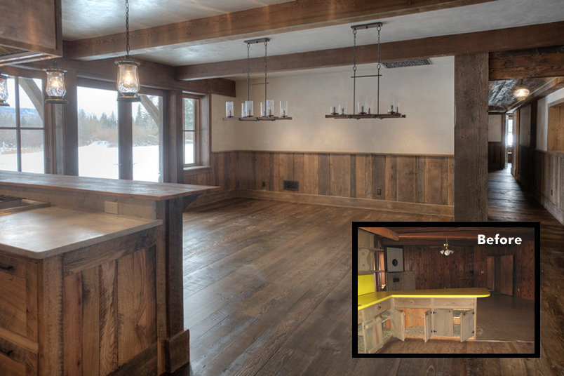 A wood wainscot made of reclaimed pine barn siding warms the dining space. Mirrored chandeliers made of wood and iron brighten a space made for a 10' dining table.