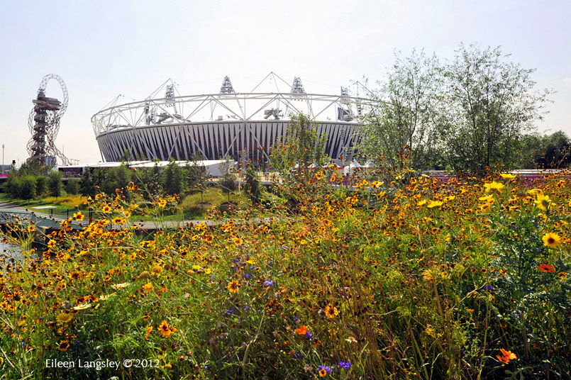 The Mital tower, landscaped park and the stadium at the 2012 London Olympic Games.