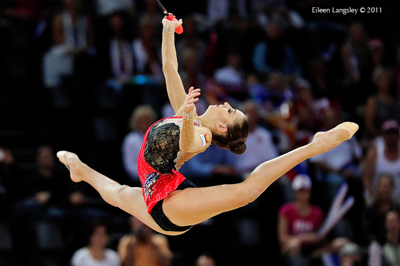 Evgenia Kanaeva (Russia) competing with Clubs at the World Rhythmic Gymnastics Championships in Montpellier.