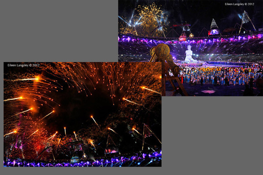A firework display during the Opening ceremony at the London 2012 Paralympic Games.