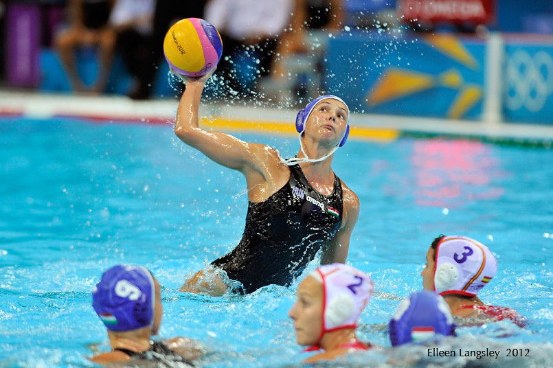 Hungarian action from the women's Water Polo match against Spain.