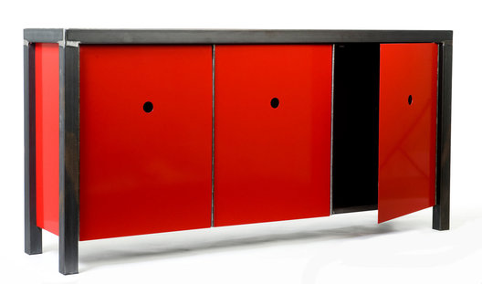 "All steel credenza with waxed frame and powder coated door panels on piano hinges.  66"" x 20"" x 30"" tall."