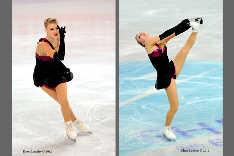 Joshi Helgesson (Sweden) competing her short programme at the 2012 European Figure Skating Championships at the Motorpoint Arena in Sheffield UK January 23rd to 29th.