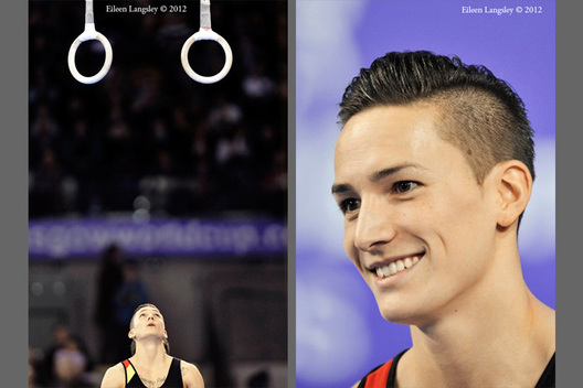 Marcel Nguyen (Germany) competing on Rings at the 2012 FIG World Cup in the Emirates Arena