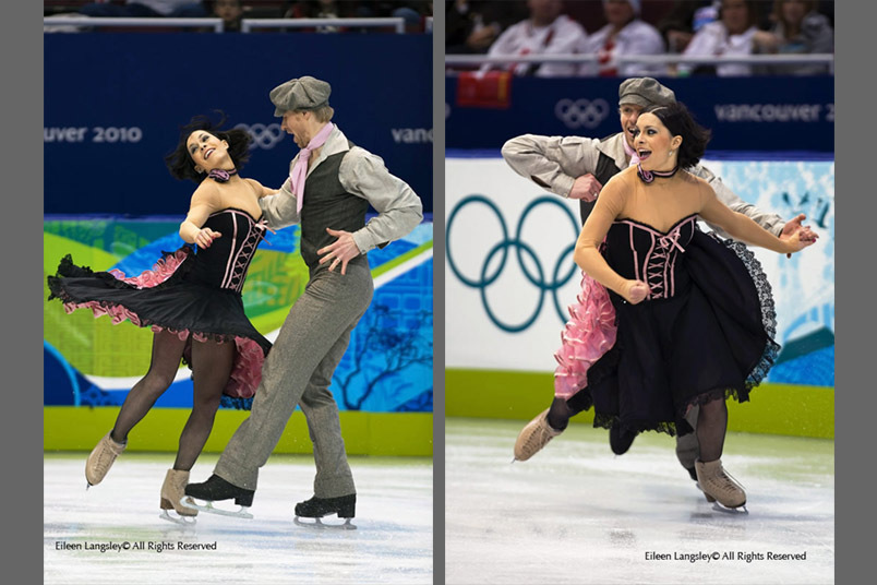 Isabelle Delobel and Olivier Schoenfelder in action during their Original Dance at the 2010 Vancouver Winter Olympic Games.