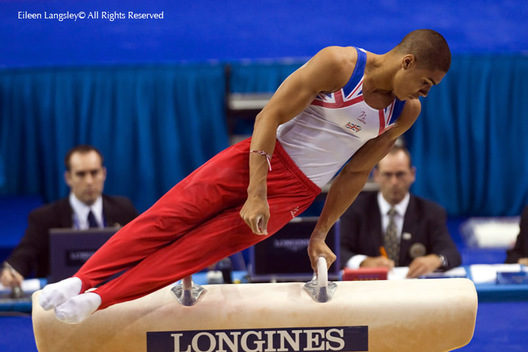 Louis Smith (Great Britain) competing on Pommel Horse at the 2009 London World Artistic Gymnastics Chamionships at the 02 Arena.